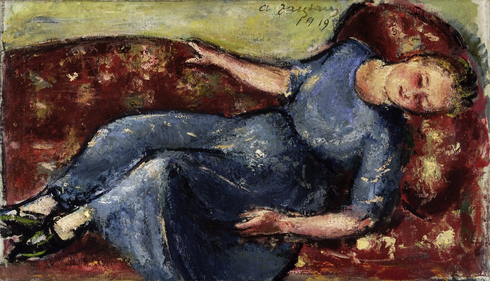 Girl in blue reclining on red sofa, Anton Faistauer (1887–1930), 1919, Oil on canvas, Salzburg Museum, inv. no. 3-52