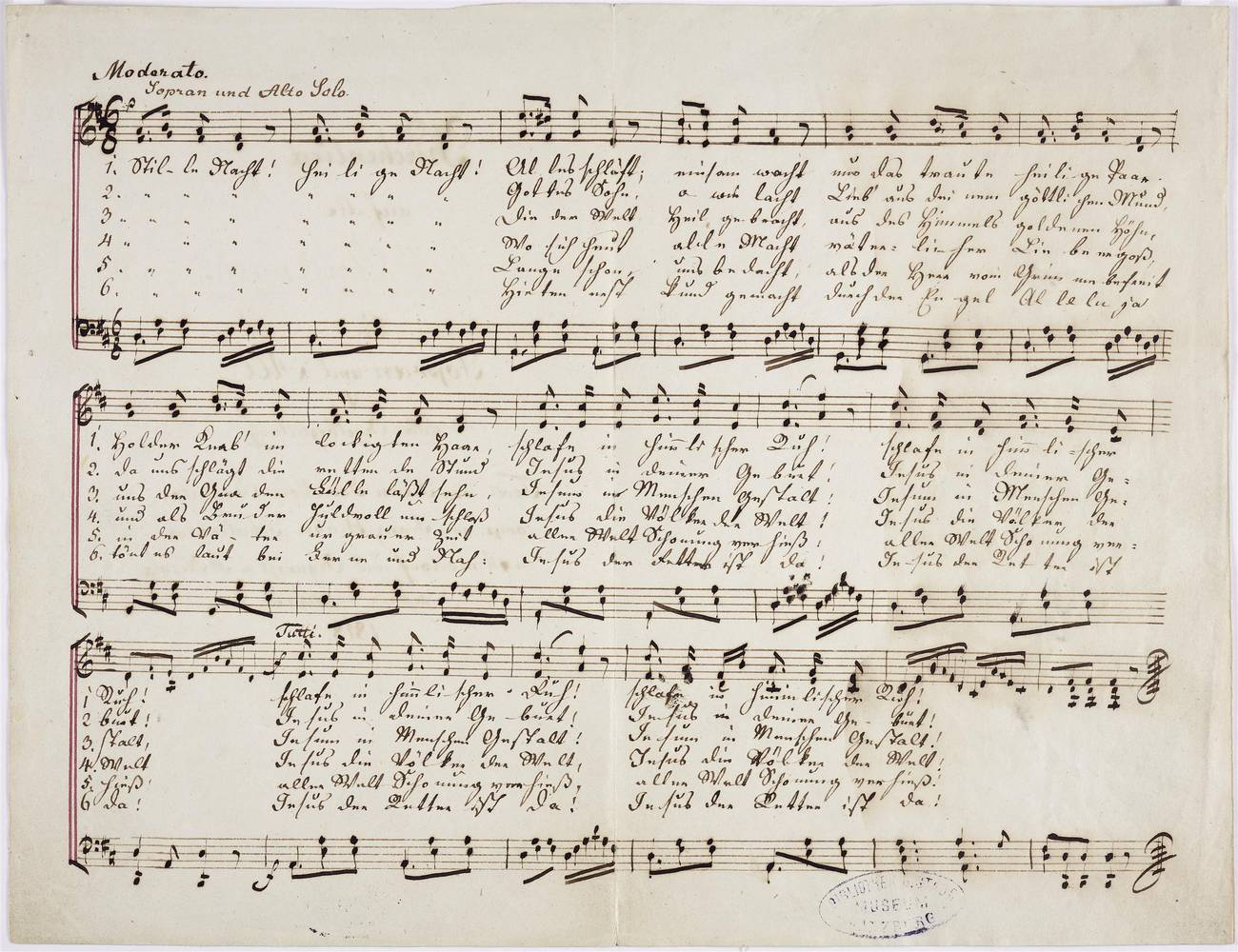 Hymn for the Holy Christmas Night for soprano and alto with dolce organ accompaniment (Autograph VII), Franz Xaver Gruber (1787–1863), Um 1860, Tinte auf Papier, Salzburg Museum, Inv.-Nr. BIB HS 679