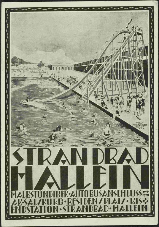 Stefan Hasenberger, advertising for the Strandbad Hallein, 1928, paper, print after gouache, © Salzburg Museum