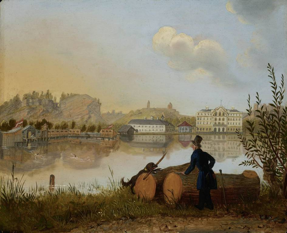 Strollers at Leopoldskroner Weiher with the military swimming school, about 1830, oil on metal, © Salzburg Museum