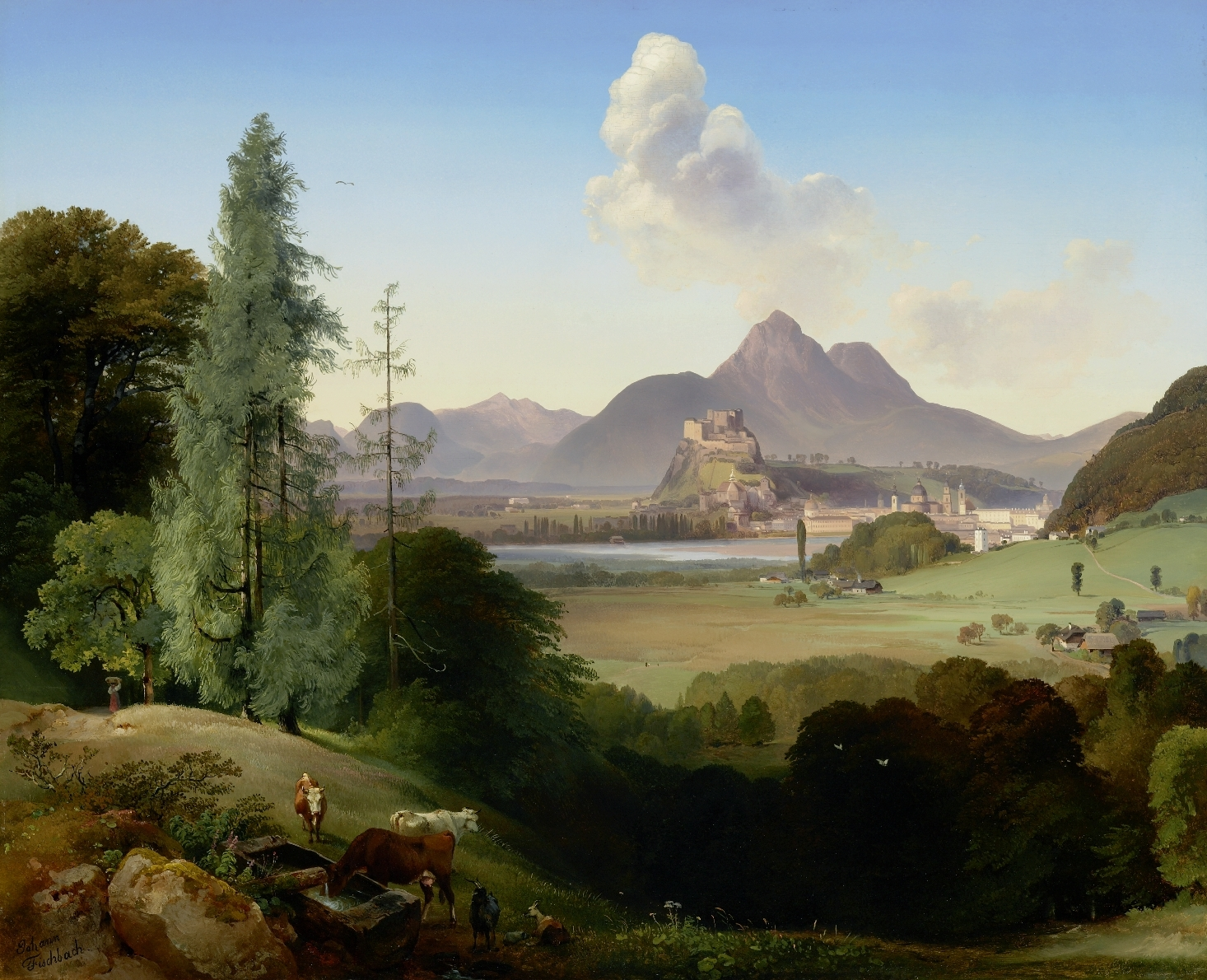 Salzburg seen from Parsch, Johann Fischbach, 1840, inv. no. 1038-2003