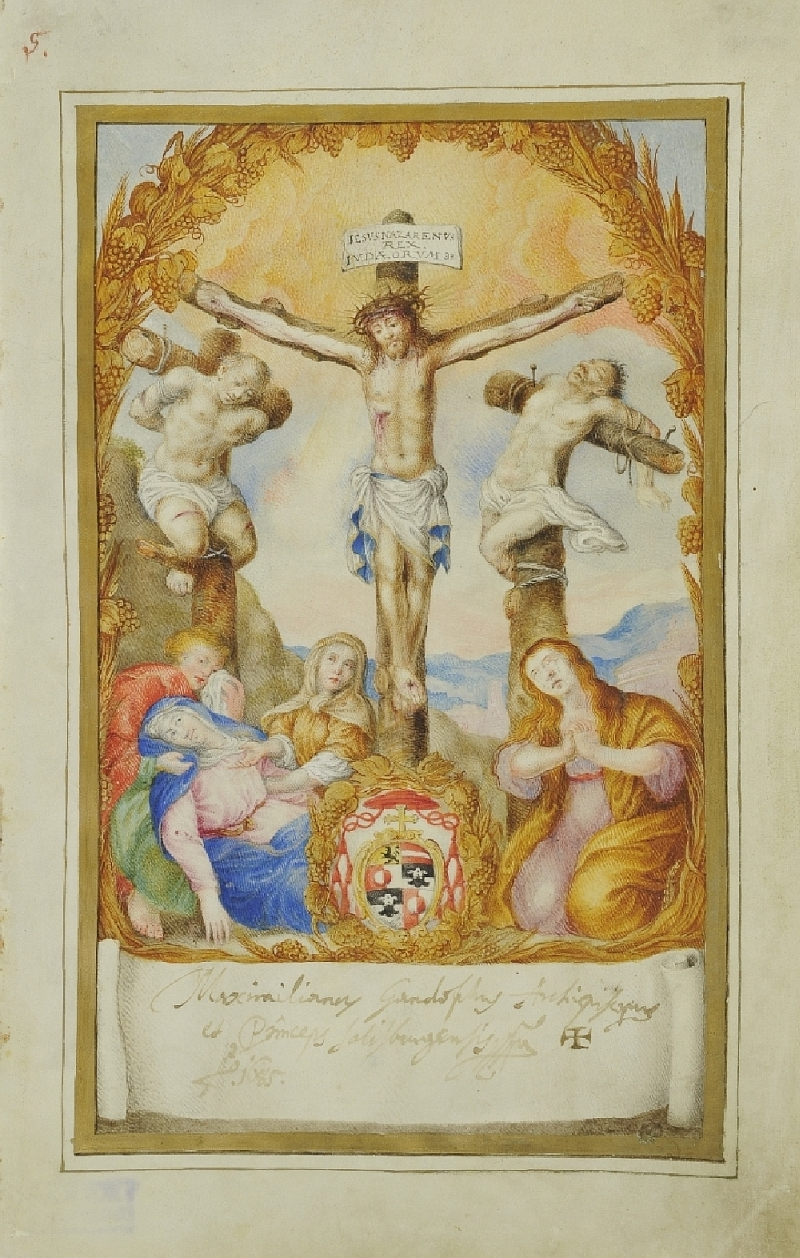 Crucifixion Group from a Fraternity Book, unknown artist, 1685, inv. no. 4765-49