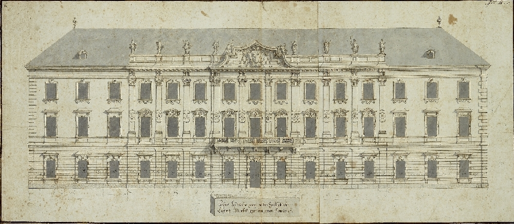 Elevation of the Garden Façade of Mirabell Palace, Johann Lukas von Hildebrandt, 1722, inv. no. 13233-49