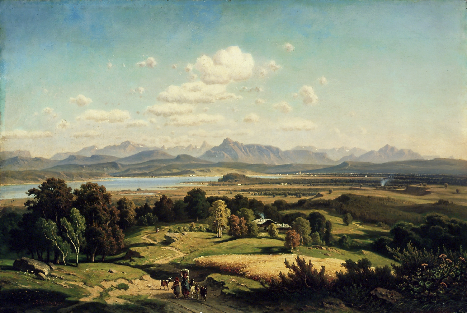 View from Tannberg over Wallersee towards the south, Josef Mayburger, 1870, inv. no. 169-50