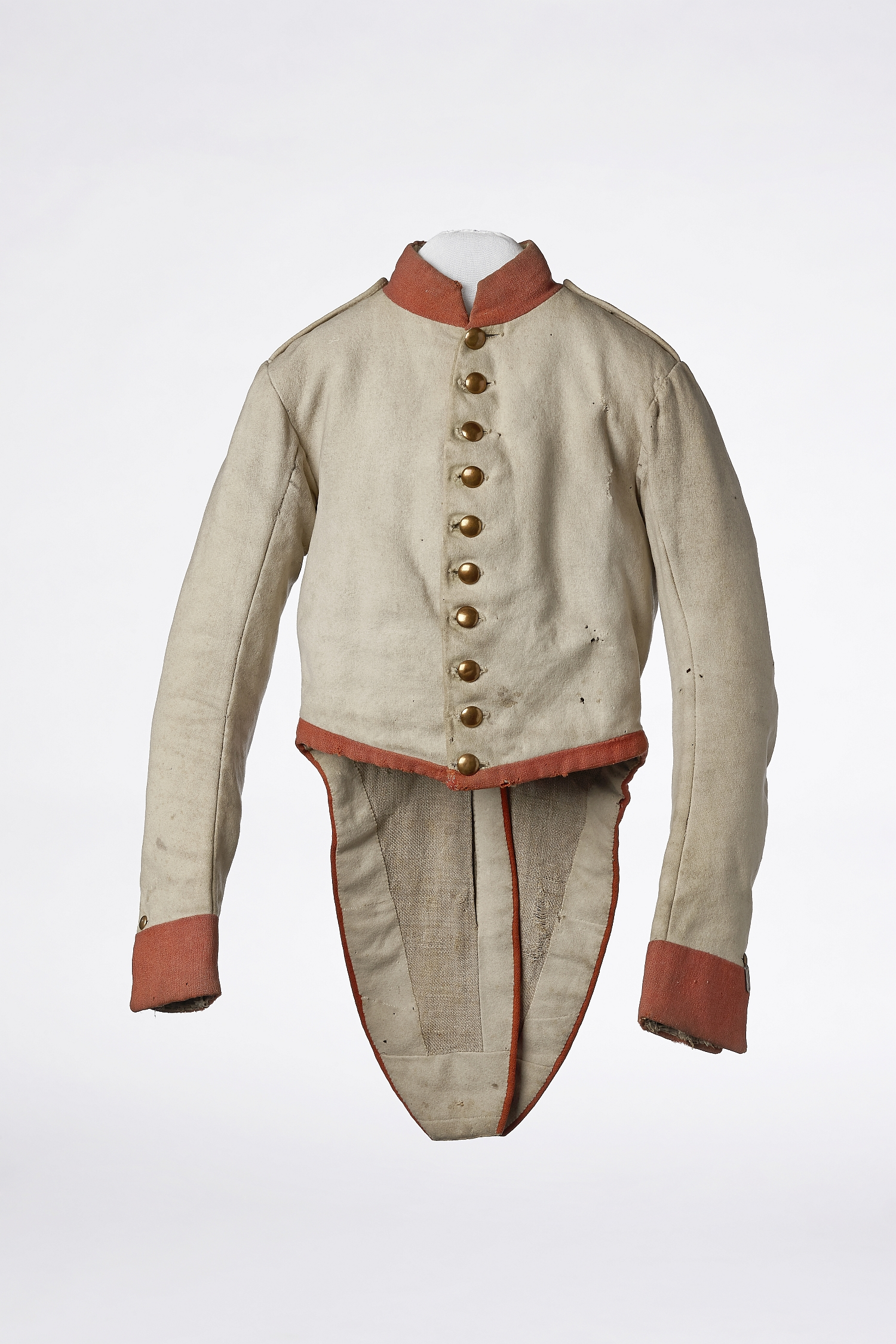 "Uniform jacket of the imperial and royal infantry regiment ""Jordis"" No. 59 (later ""Archduke Rainer"") after the adjustment regulation of 1836. Worn by Franz Riebenmayer, later master butcher, Linzergasse, inv. no. WA 2401"