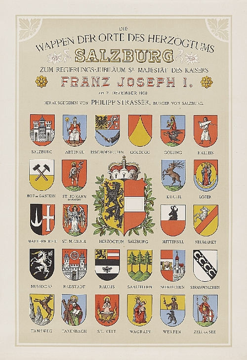 Hugo Gerhard Ströhl, Coat of arms of the districts of the Duchy of Salzburg, published by Philipp Strasser, Salzburg, 1908, paper, lithography, inv. no. BIB PLA 11646