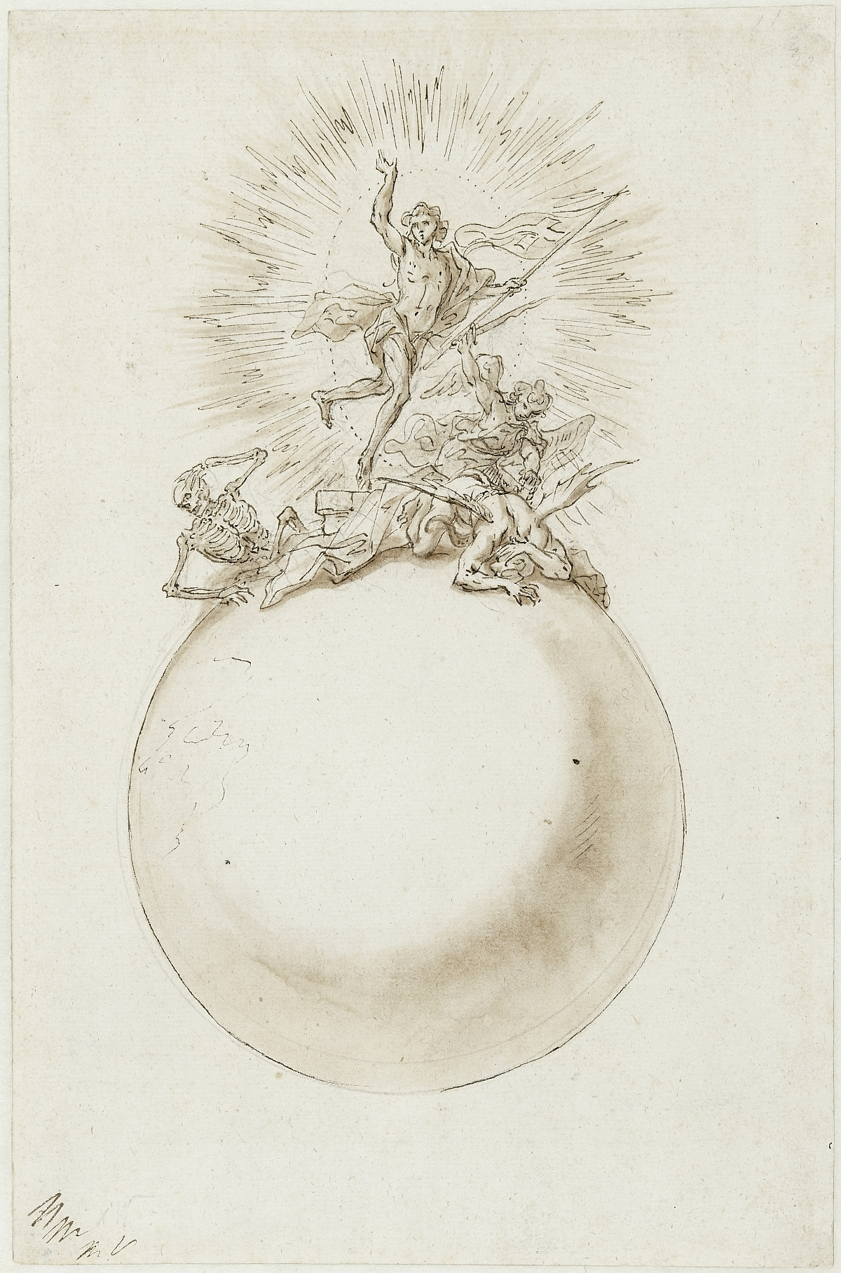 Christus as Victor over Death and Hell, Martino Altomonte, pen and bistre over lead stylus, brown wash on paper, inv. no. RO 1080; design for the tabernacle crown of the Christ Altar in the Trinity Chapel of Stadl-Paura near Lambach, 1723