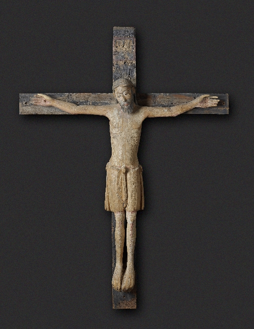 Romanesque crucifix, ca. 1200, lime wood, old painting (partly supplemented on beard and hair), inv. no. 1134 LS-2004