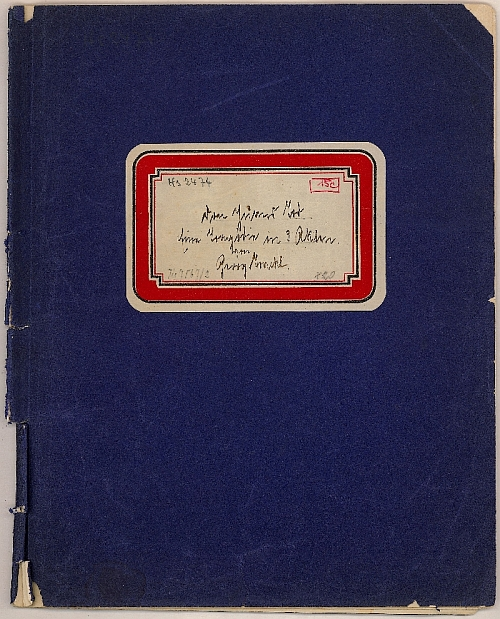 Georg Trakl, The Death of Don Juan:  A tragedy in 3 acts, four sheets in folder, of which the first two are written on one side, two loose sheets, also written on one side. Title on shield on cover, cardboard, paper, ink, inv. no. BIB HS 2474