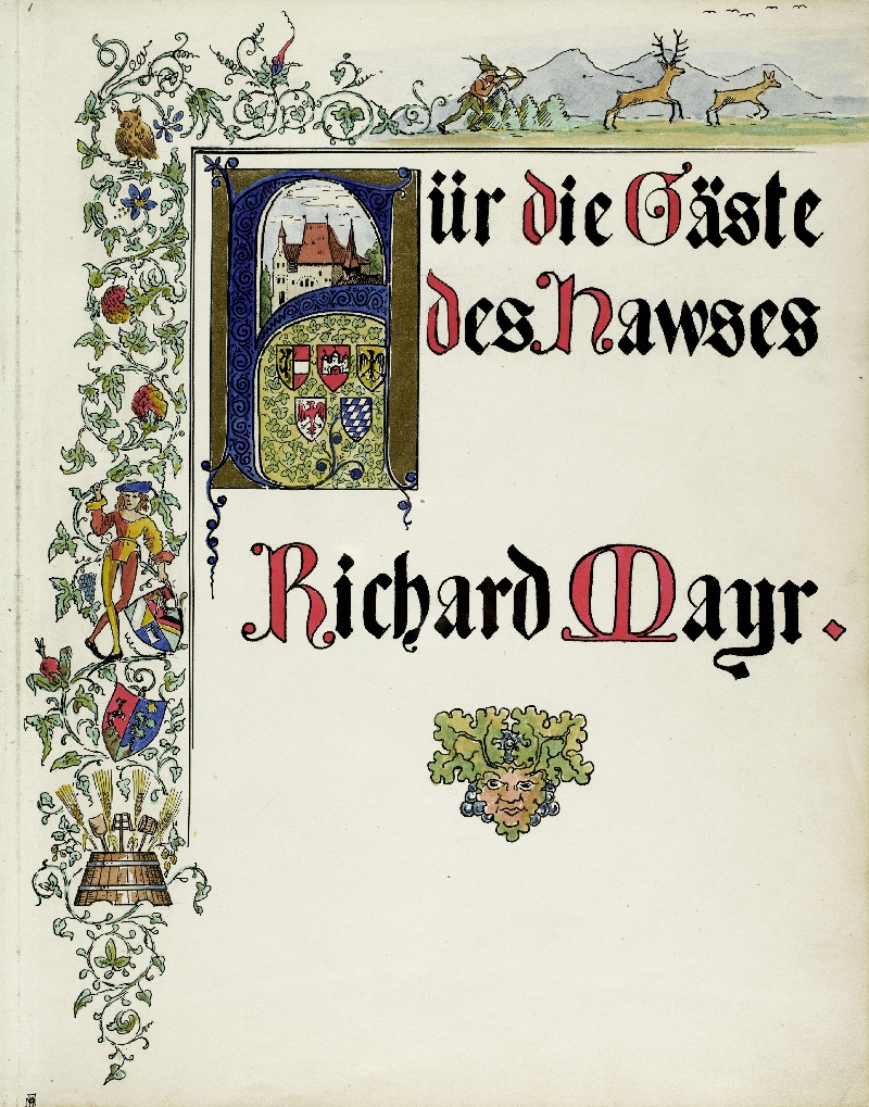 Guest book of Richard Mayr, Salzburg, Vienna, Henndorf, paper, cardboard, ink, coloured pencil, watercolour, inv. no. BIB HS 2481