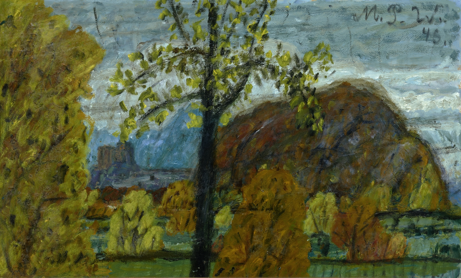 View from Parsch onto Fortress and Kapuzinerberg, Max Peiffer Watenphul, 1945, inv. no. 1067-93