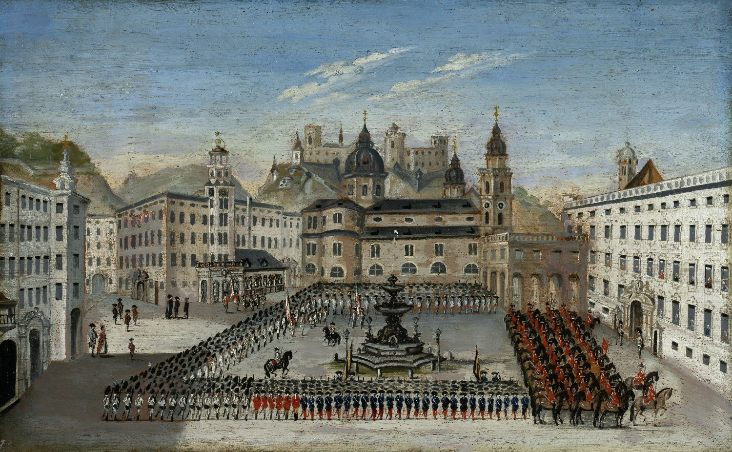 Parade on Residenzplatz, Carl Schneeweis, 1776, oil on wood, inv. no. 603-49