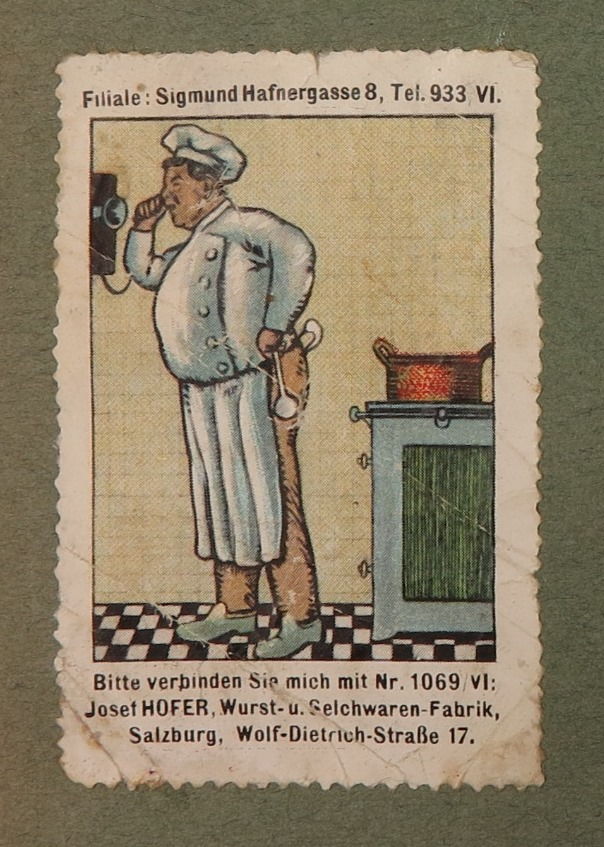 Poster stamp album, Selection: 531 Wurst- und Selchwarenfabrik (Sausage Products and Smoked Meats Factory) Hofer, gift: Dr. Vita Huber-Hering, Darmstadt, Salzburg, 1900-20, cardboard, paper, bound and glued, print, inv. no. BIB DRU 28857