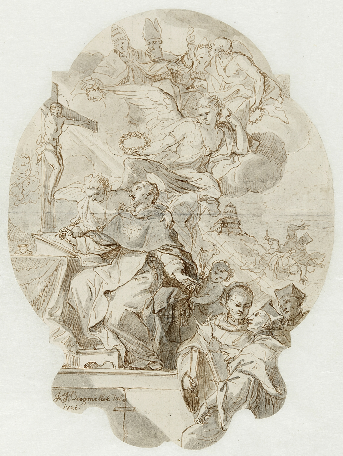 St. Thomas Aquinas, Johann Georg Bergmüller, pen and reddish-brown ink over metal stylus, grey wash, slight graticulation, inv. no. RO 1156; design for an altarpiece in the Collegiate Church, Salzburg