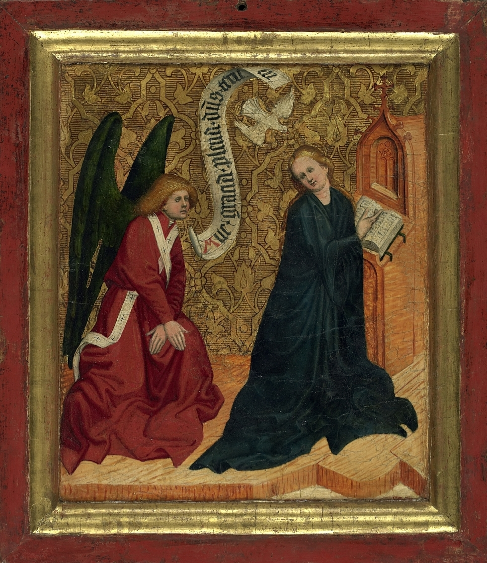 The Annunciation (Sunday side), Conrad Laib, ca. 1450, tempera on wood, Salzburg Museum (purchase supported by the Committee for Salzburg Art Treasures and the City of Salzburg), inv. no. 1371-87