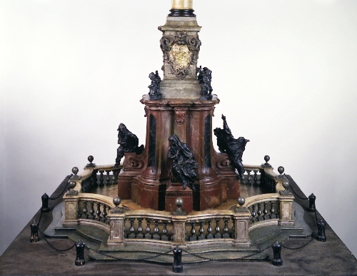 Model of an unexecuted Marian column for Universitätsplatz in Salzburg, Johann Lukas von Hildebrandt, 1711/12, wood, polychromed, figures: wax, inv. no. 9229-49
