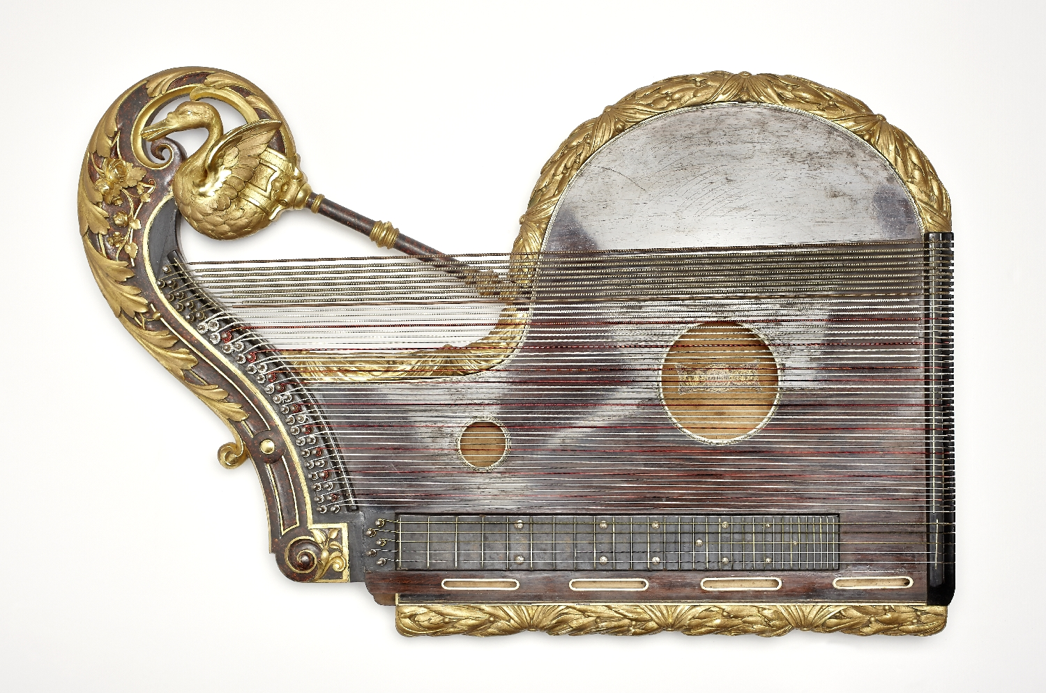 Ornamental harp zither owned by Joseph Achleitner, Kammervirtuose of Otto I of Greece, Ignaz Johann Bucher, Vienna, ca. 1860, fir, rosewood, veneered, inv. no. MI 1368