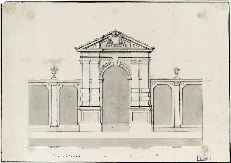Design for the rear wall of the Pferdeschwemme (horse pond), Johann Bernhard Fischer von Erlach, early 18th c., pen and ink, wash, inv. no. 7504-49