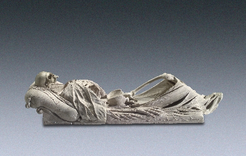 Tomb cover in the form of a realistically shaped skeleton, Hans Conrad Asper, 1624, Untersberg marble, inv. no. 9240-49