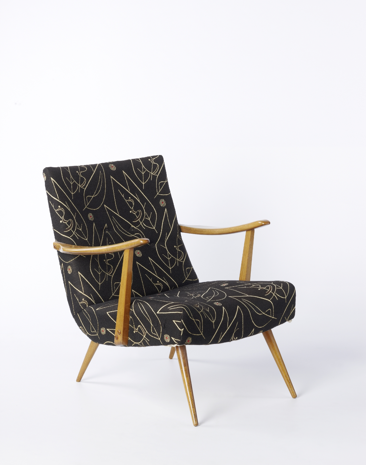 Easy chair, 1950s, wood, fabric, inv. no. 2117-2011