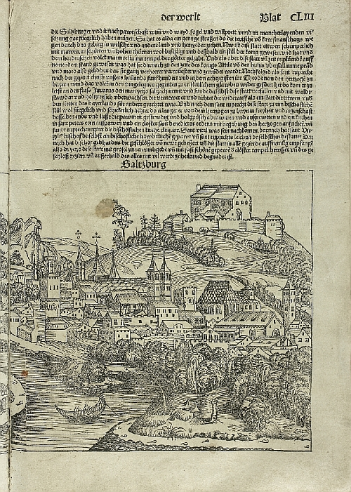 Hartmann Schedel, author, Michael Wolgemut, illustrations, view of the Fortress and the Cathedral in Salzburg, in: Hartmut Schedel, Buch der Chroniken, Nuremberg, 1493, paper, cardboard, print, inv. no. BIB INK 1, Bl. CCLXXIII