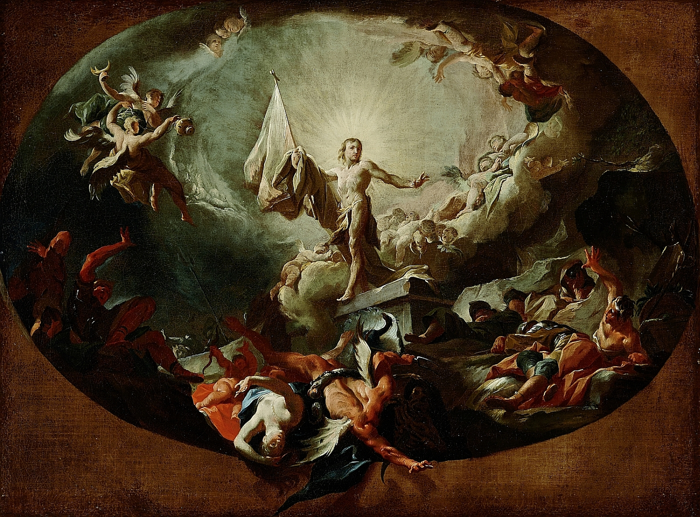 Christ's Resurrection and Victory over Death and Hell, Paul Troger, ca. 1745, oil on canvas, inv. no. RO 0036; probably model for the lost fresco in the cemetery church of St. Niklas in Vienna
