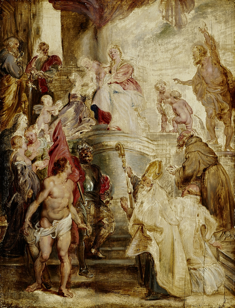 The Mystic Marriage of Saint Catherine, Peter Paul Rubens, 1628, oil on oak wood, inv. no. RO 0357; one of the designs for the high altarpiece in the Augustinian Church in Antwerp