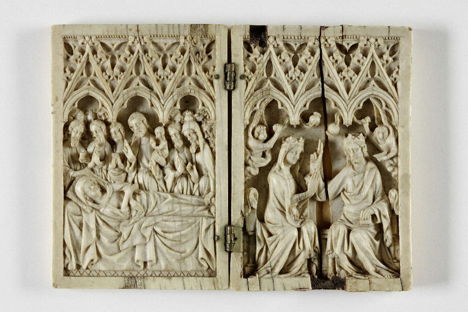 Diptych with portrayals of the Crowning of the Virgin Mary and Dormition of the Virgin, region of Maas or Central Rhine, ca. 1350, ivory, brass, inv. no. 20-32