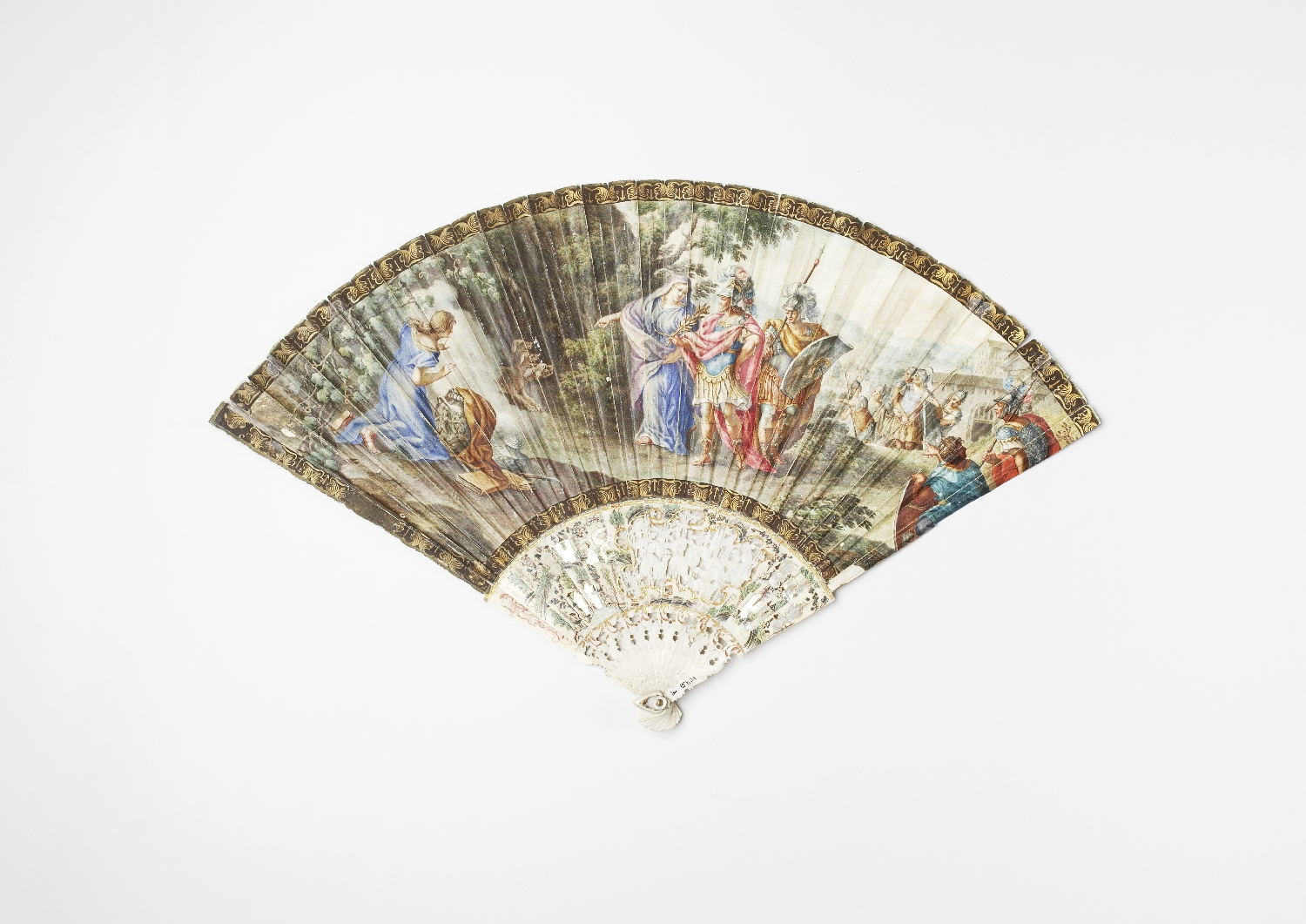 Fan with mythological motif, France or Italy, 2nd half 18th c., parchment, painted, ivory, inv. no. 157-31