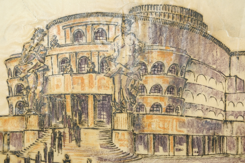 Design for a festival theatre project on Bürglstein(?), Martin Knoll, 1914, chalk pastel on transparent paper, inv. no. AR 004-2014