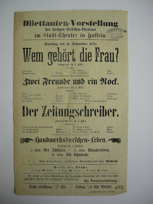 Gesellen-Verein Hallein, publisher, theatre bill, Stadttheater Hallein: Wem gehört die Frau? (Who does the woman belong to?), paper, print, inv. no. TZH 0041
