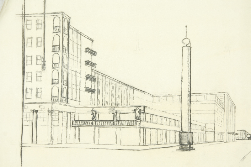 Kurhaus project (?), Salzburg-Rainerstrasse, Martin Knoll, pencil on transparent paper, inv. no. AR 009 c-2014