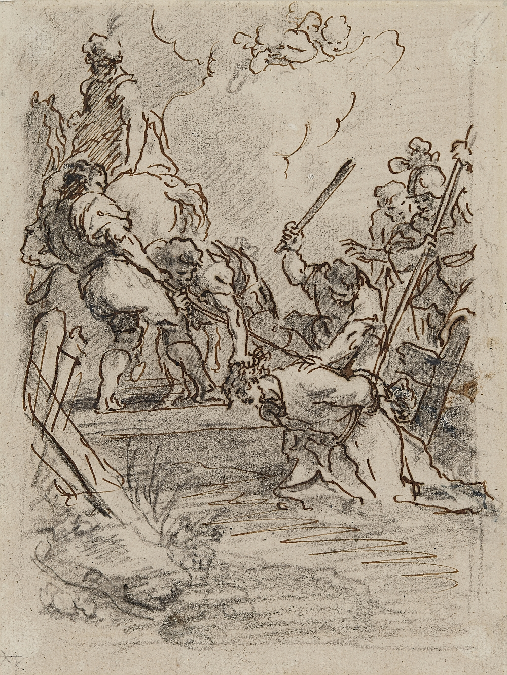 Christ is led through the Stream of Kedron, Martin Johann Schmidt (called Kremserschmidt), black chalk, pen and brown ink on paper, inv. no. RO 1071; composition design for the Garsten Lenten wall hangings, 1777