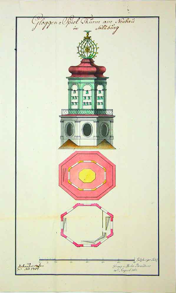"Map from the Salzburger Landesarchiv ""Gloggen=Spiel Thurm am Neubau in Salzburg"" (Carillon tower in Salzburg under construction), signed and dated: ""Franz v: Paula, 28 August 1817"", SLA, Kreising. Fasz. 272 [JS 47/48, S. 165.]"