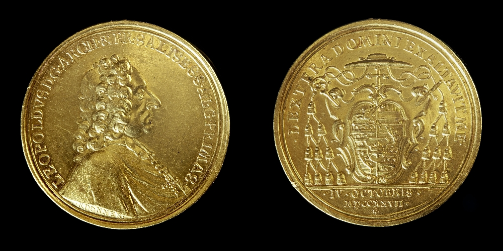 20 ducat, minting authority: Baron Leopold Anton von Firmian, Archbishop of Salzburg, gold, Salzburg Museum (purchased by the Committee for Salzburg Art Treasures), inv. no. MÜ 15.875