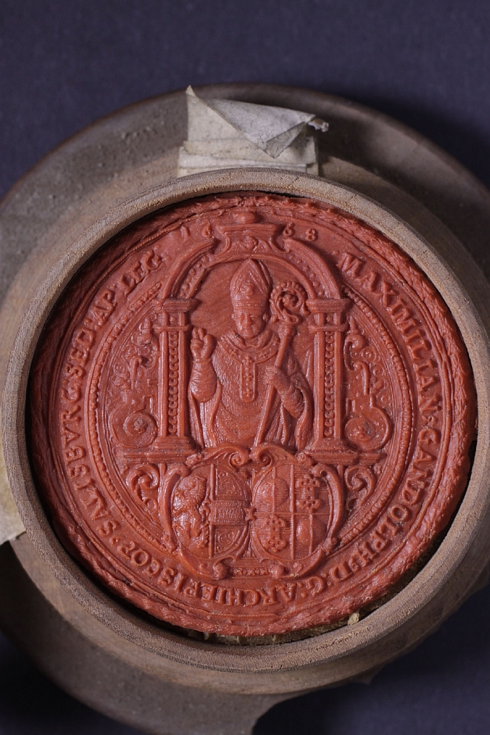 Throne seal, Count Max Gandolf Kuenberg, Archbishop of Salzburg, wax, turned wood, inv. no. SI 112