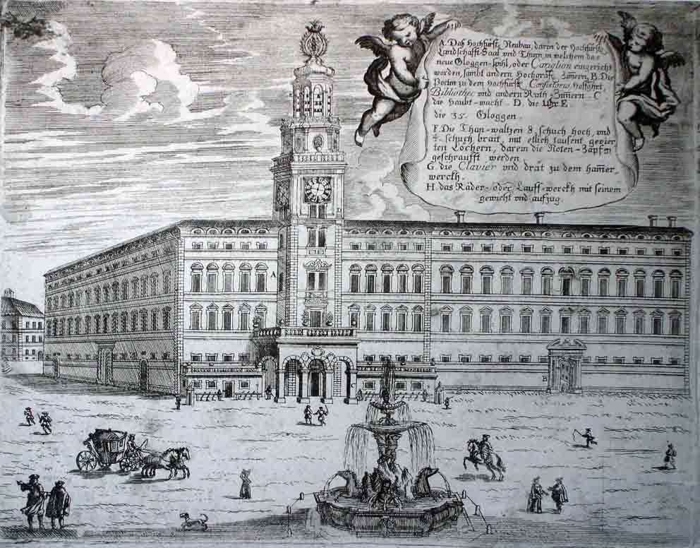Neue Residenz with Carillon and Residenzbrunnen, Christoph Lederwasch, etching, 1704, inv. no. 764-49