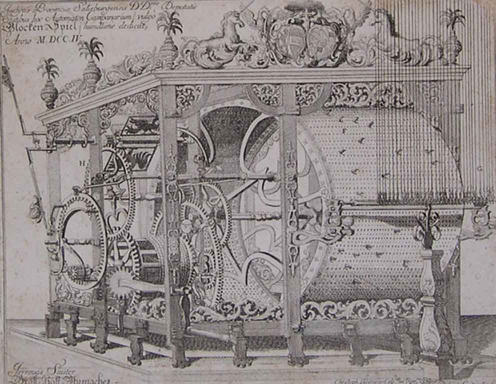 The Carillon mechanism, Christoph Lederwasch, etching, 1704, inv. no. 806-49
